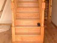 full oak cut string stairs