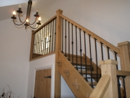 oak open riser stairs